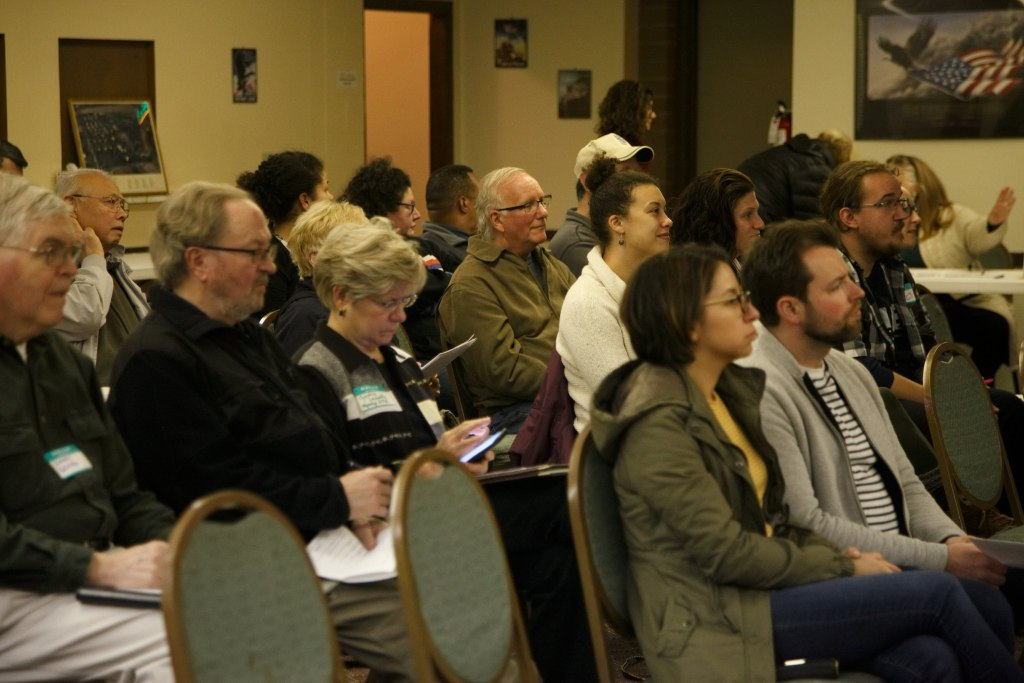 Audience listens to speakers at Skyway VFW Post #9430 on January 15th, 2019 for WHCA's Winter Quarterly Community Meeting.