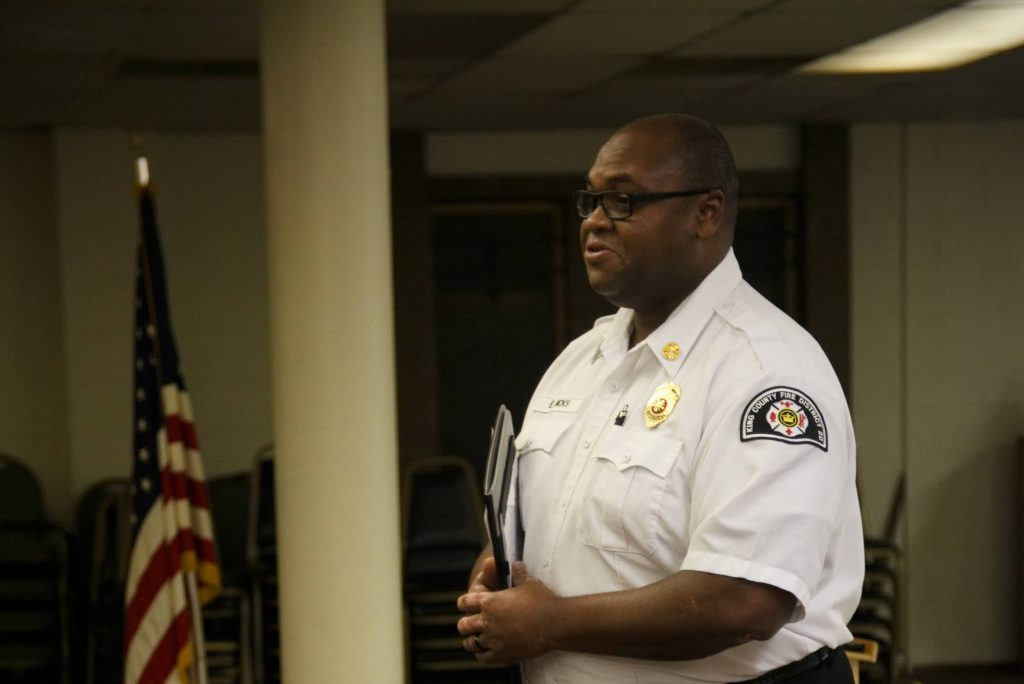 King County Fire District 20 (KCFD20) Fire Chief Eric Hicks gives a report at Skyway VFW Post #9430 on January 15th, 2019 for WHCA's Winter Quarterly Community Meeting.