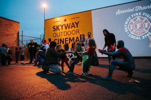 Skyway Outdoor Cinema 2019 - Spider-Man Web Tug of War - Hallie McGee Photography
