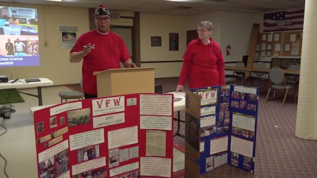 Skyway VFW Post Commander Larry Weldon and Auxiliary President Cheryl Scheeler
