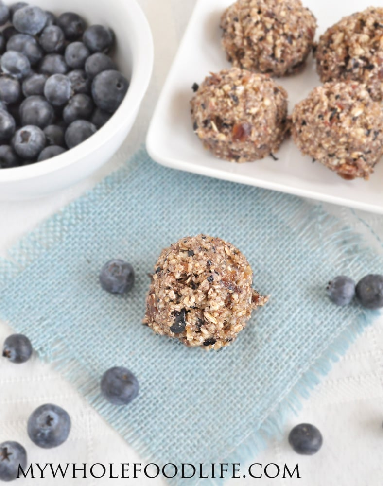 Gluten-free raw blueberry muffin bites