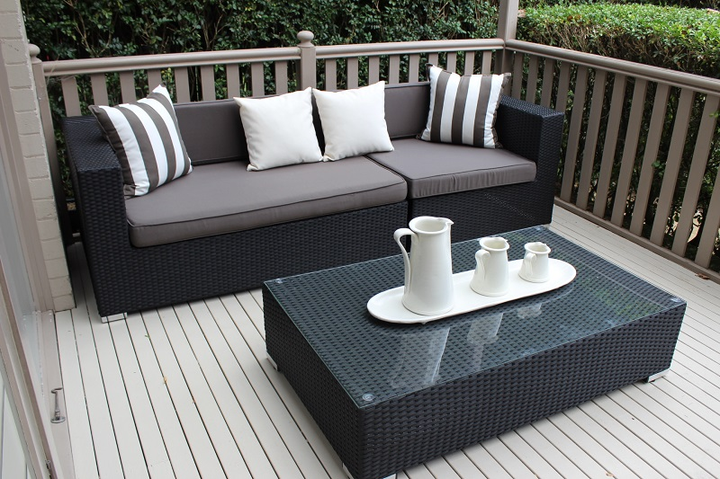 Wicker Outdoor Furniture Gartemoebe 3 Seater Lounge With
