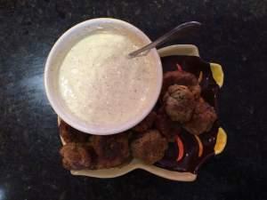 Sausage balls with Honey Dijon Mustard/Greek Yogurt