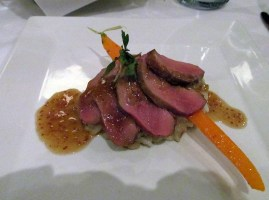 Seared duck breast with shallot risotto and Tyrrells Stevens Shiraz 2009