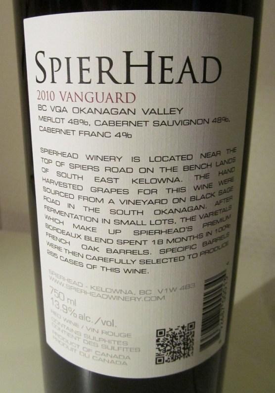 Spierhead Vanguard 2010 back label