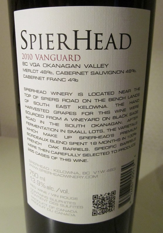 Spierhead Vanguard 2010 back label