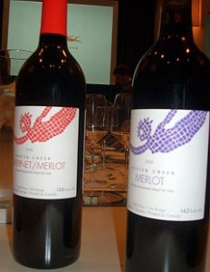 Hester Creek Merlot bottles