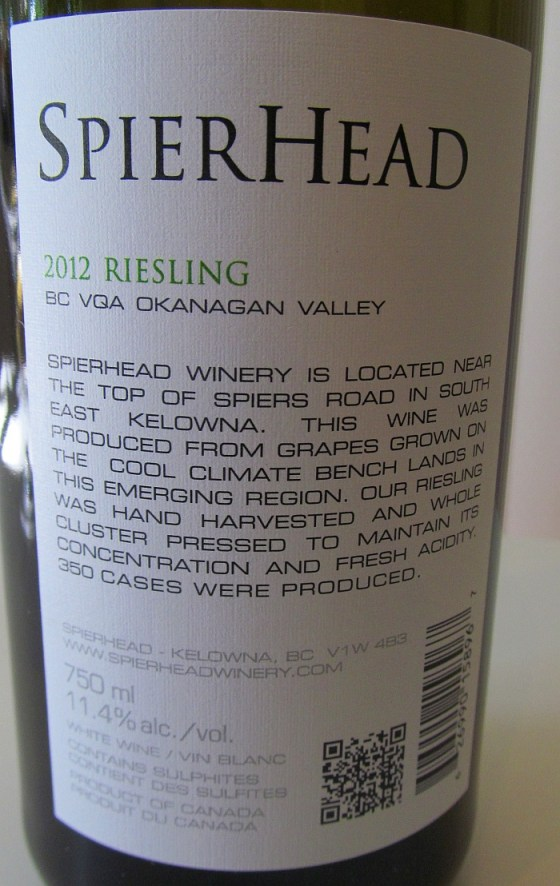 SpierHead Riesling 2012 back label