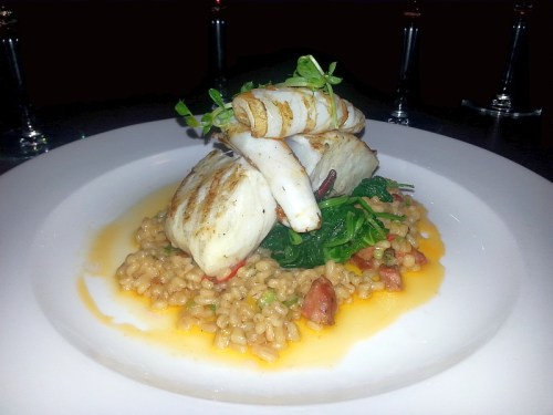 Grilled Halibut and Squid
