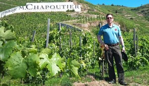 Karl MyWinePal at the Chapoutier vineyards in Hermitage in the Rhone Valley