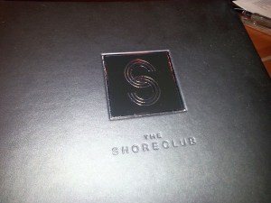 The Shore Club menu cover