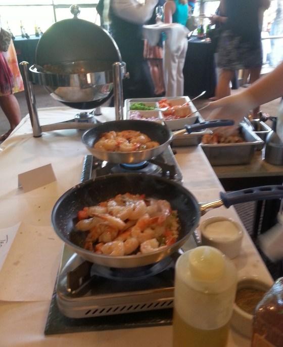 Cooking tiger prawns