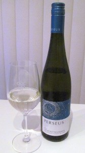 Perseus Gewurztraminer 2012 with wine glass