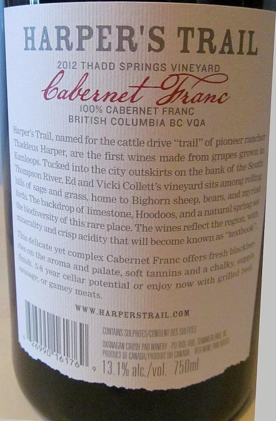 Harpers Trail Cabernet Franc 2012 back label