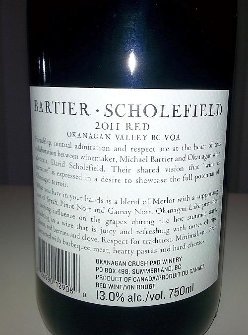 Bartier Scholefield Red 2011 back label