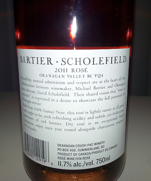 Bartier Scholefield Rose 2011 back label