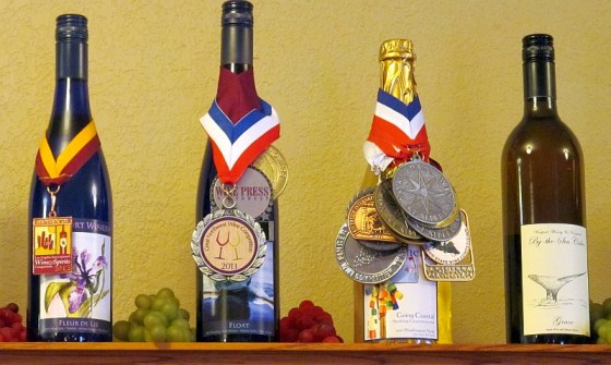 A selection of Westport Winery wines with medals