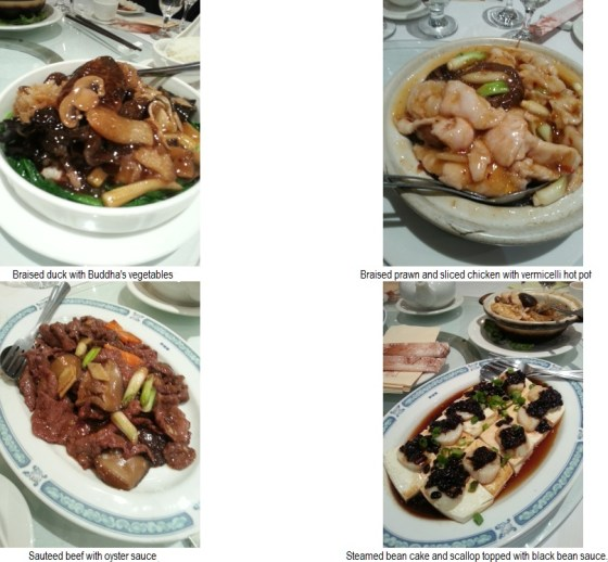 Chinese food dishes from Sun Sui Wah