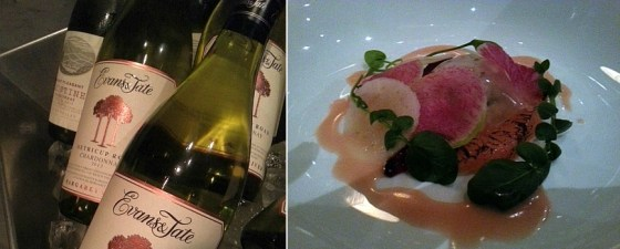 Evans & Tate and Mount Pleasant Chardonnays and the Dungeness Crab and Side Stripe Prawn Salad