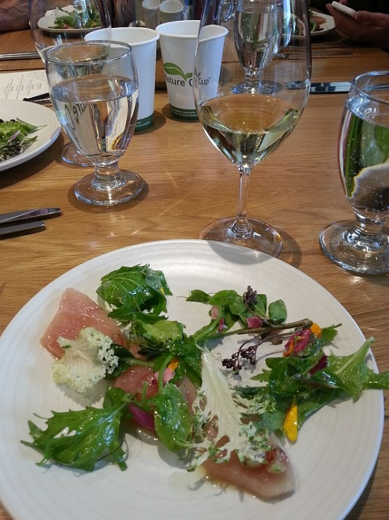 Forage: Albacore tuna crudo, lemon verbena infused olive oil, gooseberry, salad greens and dandelion dressing