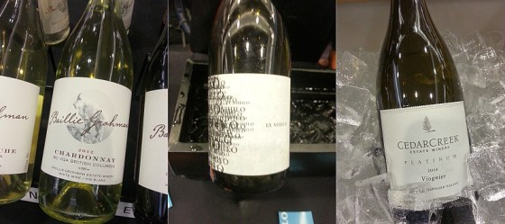 Baille-Grohman Chardonnay, CedarCreek Platinum Viognier, and Ex Nilho Riesling