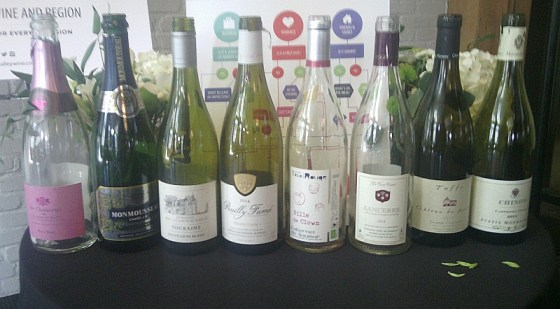 A line up of Loire Valley wines