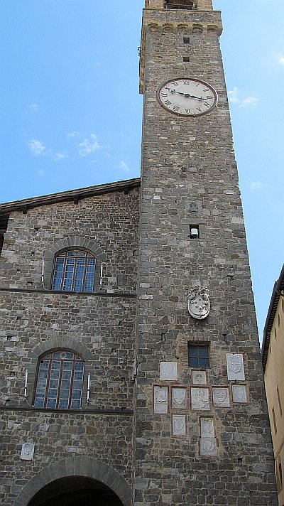 A clock tower in Montalcino