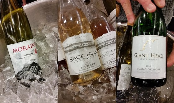 Moraine Estate Winery Riesling, Sage Hills Estate Winery Pinot Gris Small Lot, and Giant Head Estate Winery Blanc de Noir