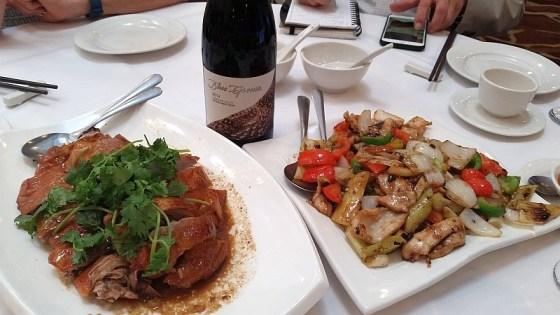 Blue Grouse Estate Pinot Noir with BBQ duck on left and Black Bean Chicken on right