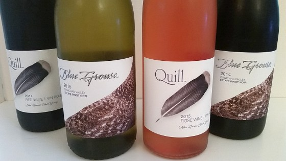 Blue Grouse Quill Rose and Red blend and Estate Pinot Gris and Pinot Noir
