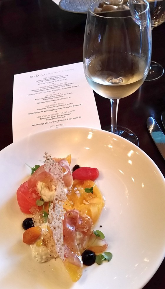Heirloom tomato salad with Kim Crawford Sauvignon Blanc at ebo restaurant