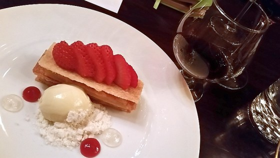 Peach Millefeuille with Warres Warrior Port