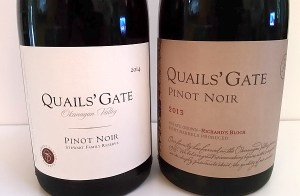 Quails' Gate Stewart Family Reserve and Richards Block Pinot Noirs