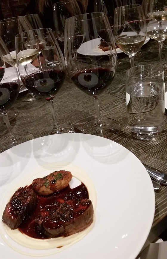 Roast fillets of beef together with a veal sweetbread served with 3 red wines from KWV at L Abattoir