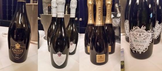 Giusti Asolo Prosecco Brut, Extra Dry, Cuvee, and Rosalia sparkling wines