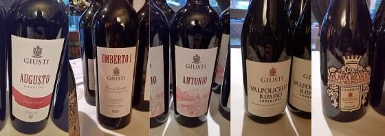 Giusti Augusto Recantina, Umberto I, Antonio, Valpolicella Ripasso, and Amarone della Valpolicella wines