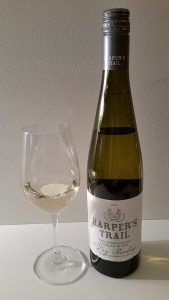 Harper's Trail Pioneer Block Dry Riesling 2014 and glass