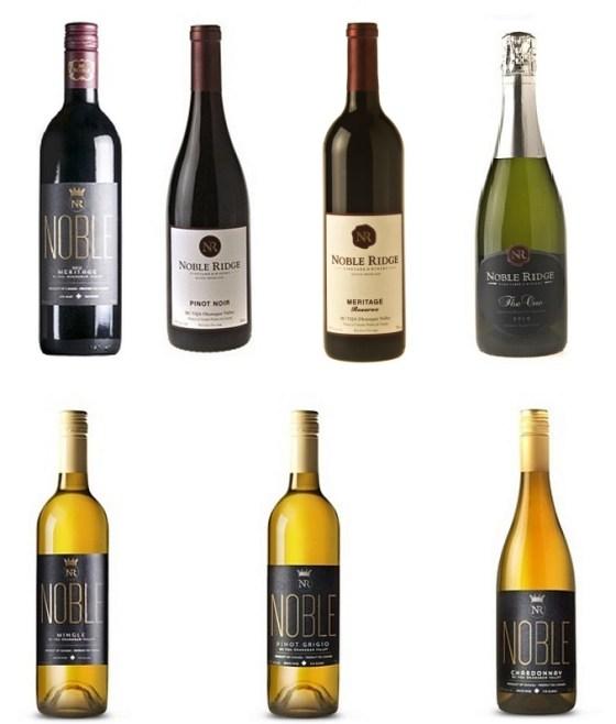 A selection of Noble Ridge range of wines