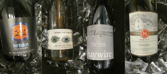 Tantalus, Haywire, and Hidden Bench Pinot Noir, and Sperling Vineyards Vin Gris