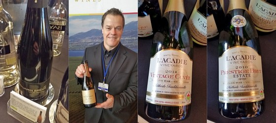 Benjamin Bridge Methode Classique NV, Jackson-Triggs Okanagan Estate Grand Reserve Entourage Brut 2010, l'Acadie Vineayrds Prestige Brut Estate 2010 and Vintage Cuvee 2014 wines from Canada