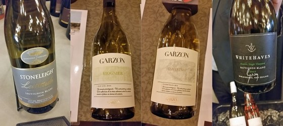 Stoneleigh Latitude Sauvignon Blanc, Bodega Garzon Viognier and Albarino, and Whitehaven Greg Sauvignon Blanc wines