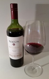 Bodega Norton Barrel Select Malbec 2015 with wine in glass
