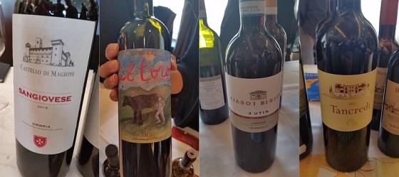 Castello di Magione Sangiovese, Donnafugata Tancredi 2012, Ciabot Berton 3 Utin Nebbiolo, and Castello Romitorio Il Toro wine