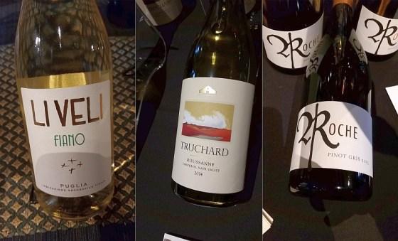 Masseria Li Veli Fiano IGT, Truchard Rousanne, and Roche Wines Pinot Gris wines