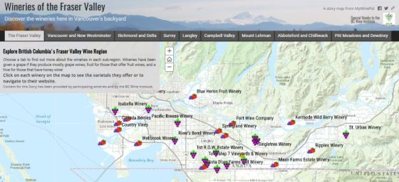 MyWinePals Fraser Valley Winery Story Map