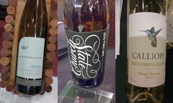 Arrowleaf Cellars Riesling, Church & State Wines Signature Pinot Gris, and Calliope Wines Sauvignon Blanc