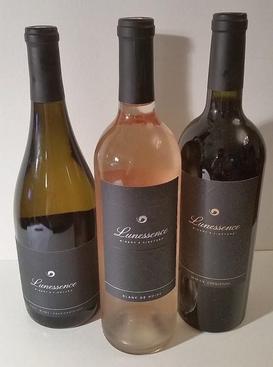 Lunessence Pinot Blanc - Oraniensteiner, Blanc de Noirs, and MMXV Crescendo wines