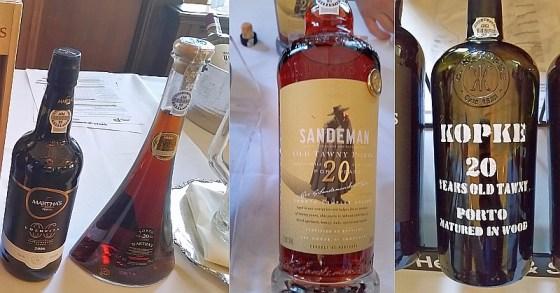 Martha's Wines 20 Years Old Tawny Port, Kopke 20 Years Old Tawny Port, and Sandeman 20 Years Old Tawny Port