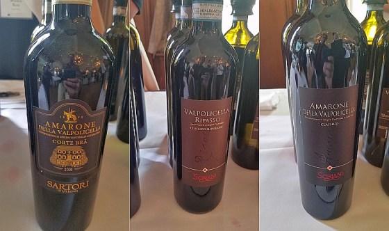 Sartori di Verona Amarone dellaValpolicella Classico Corte Bra, ScrianiValpolicella Ripasso, and Scriani Amarone dellaValpolicella DOCG wines