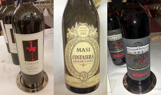 Argiolas Turriga, Masi Agricola Costasera, Amarone della Valpolicella Classico, and Mastroberardino 1878 Radici Taurasi wines